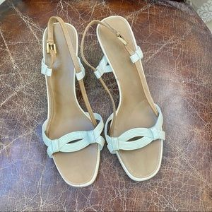 PRADA cream tan slingback sandals 10